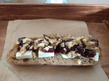 Sour cherry jam, cream cheese (but different than the US) and walnuts